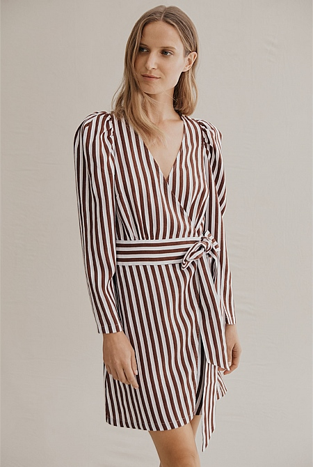 3c6cb40797c4f7 Stripe Drape Sleeve Linen Dress | Dresses