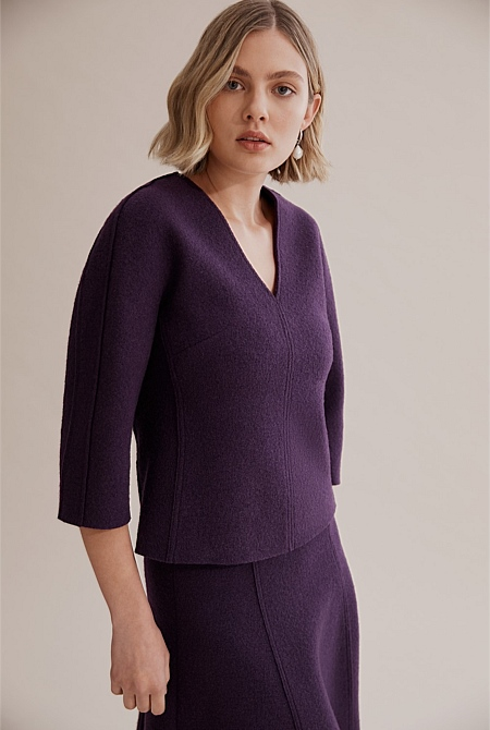 70ea0fc39945 Boiled Wool V-Neck Top | Wear to Work