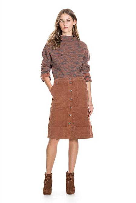 A-Line Cord Midi Skirt | Skirts