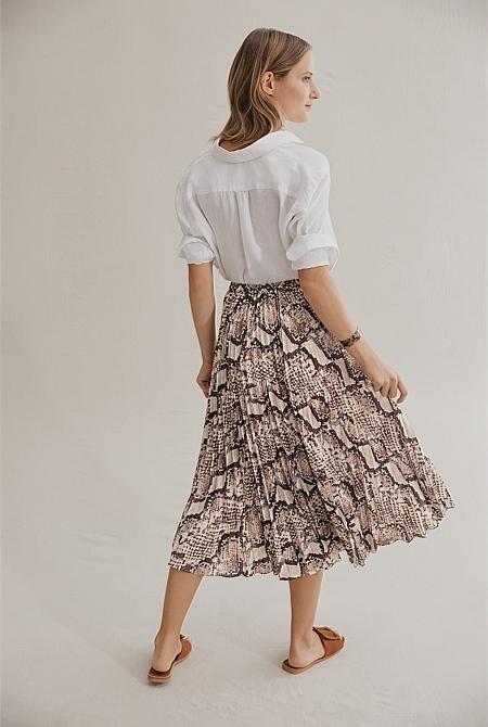 2af5bd33372 ... Snake Print Midi Skirt ...