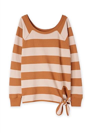 Slouch Stripe Tie Up Sweater