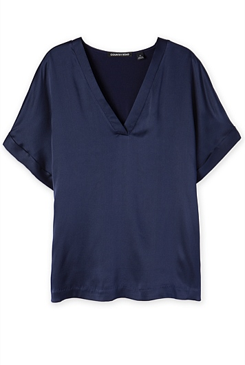 Silk Satin Front T-Shirt