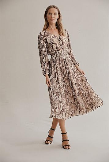 Pleat Sleeve Midi Dress